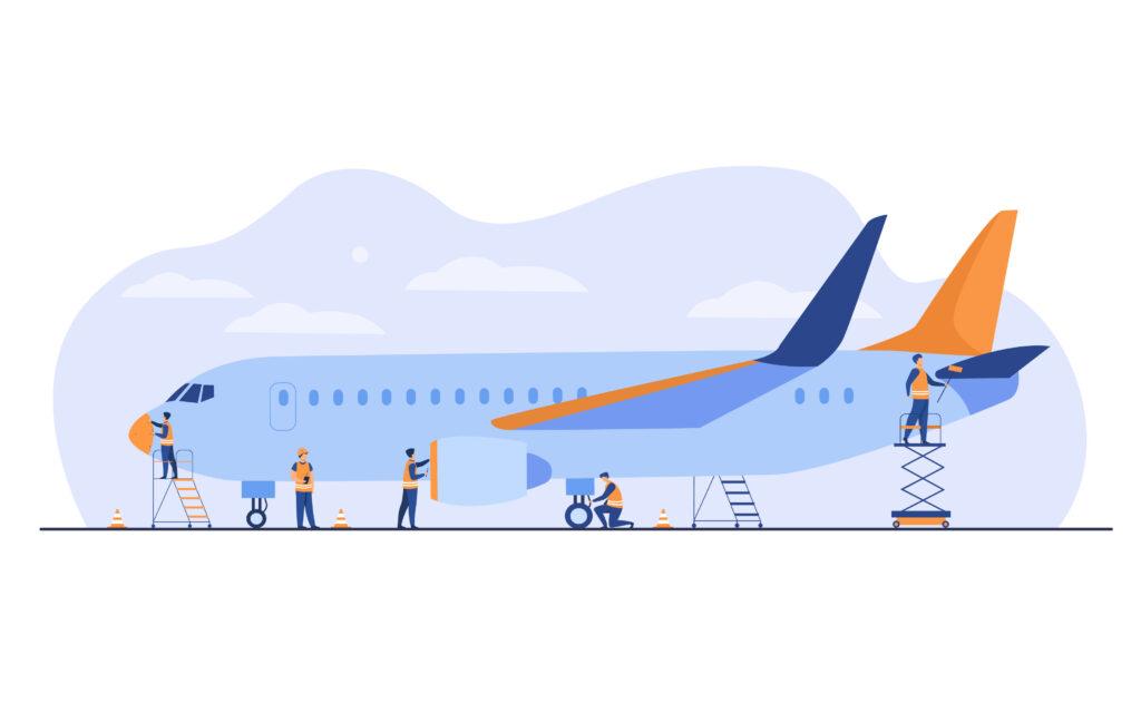 Plane service . Cartoon mechanics repairing airplane before flight or adding fuel. Aircraft maintenance and aviation concept _ verkehrsmittelspezifisches Mobilitätsbedürfnis