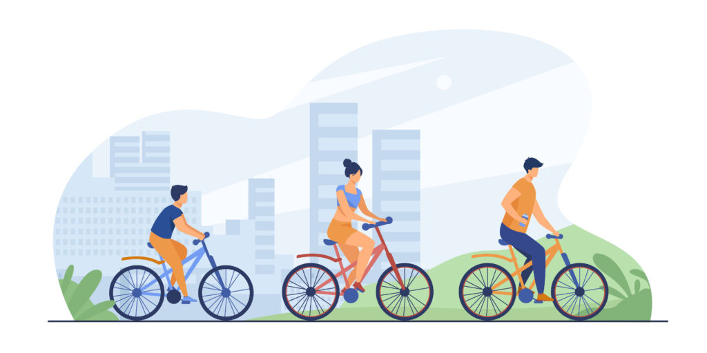 Family riding bikes in city park. Young couple with child cycling outdoors. Vector illustration for urban activity, healthy lifestyle, vacation concept - verkehrsmittelspezifisches Mobilitätsbedürfnis