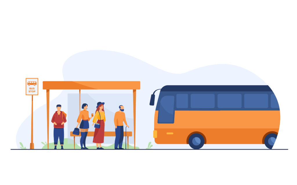 Passengers waiting for public transport at bus stop. Cartoon characters using auto. Transportation and conveyance concept -verkehrsmittelspezifisches Mobilitätsbedürfnis