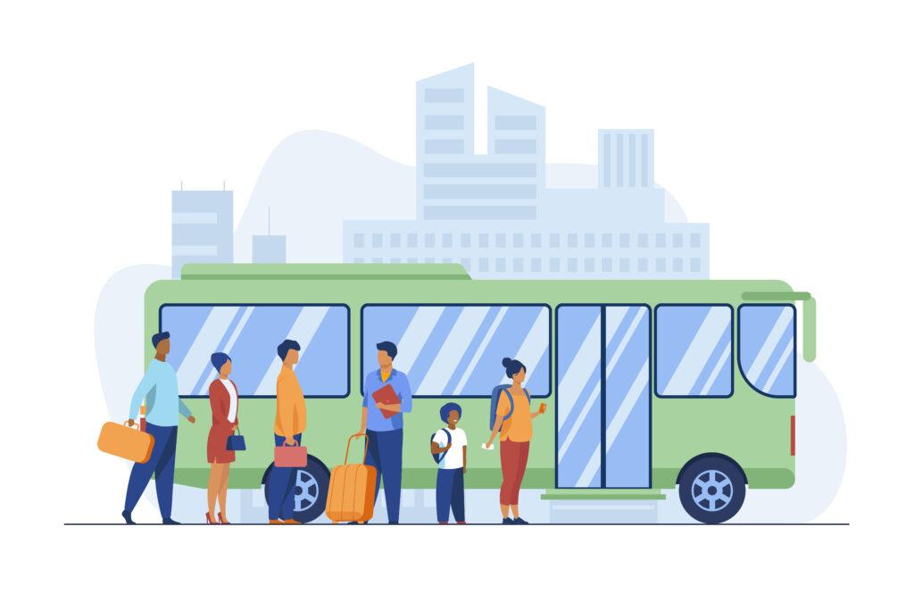Passengers waiting for bus in city. Queue, town, road flat vector illustration. Public transport - Mobilitätsansprüche